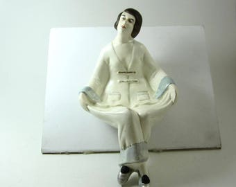 art deco figurine Pierrette ash tray trinket tray reclining figure made in Japan