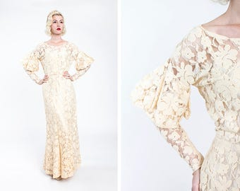 ROMANTIC Vintage Early 1930s Ivory Drop Shoulder Knit Lace Wedding Gown with Juliet Sleeves // ART DECO // Bridal // Long Sleeve // Bride