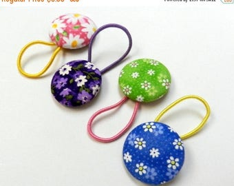 SUMMER SALE EVENT Girls hair bow buttons hair tie Ready to ship floral fabric Button Ponytail holder , hair ties, girls hair bows, girls bir