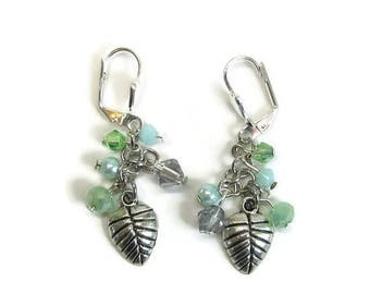 AUGUST SALE Leaf earrings Swarovski crystal green
