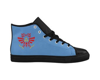 Legend of Zelda Aquila High Top Action Leather Men's Shoes (Model 032) FREE SHIPPING WORLDWIDE! Perfect gift for the guy in your life