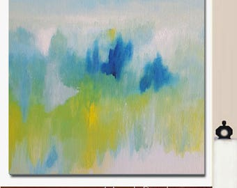 """Bright Blue Yellow Modern Expressionist Abstract Wall Hanging Art Colorful Diptych Canvas 40"""" Large Big Original Painting - Print Giclee"""