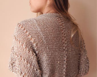 Knitted  Shrug Bolero Summer Shrug Lace Gold