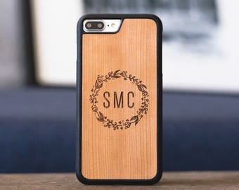 Monogram iPhone 8 Plus Case, iPhone 8 Wood Case, Wood iPhone 8 Plus Case - MONO-SHK