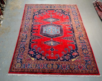 Persian Rug - 1980s Hand-Knotted Wiss/Viss Rug (3697)
