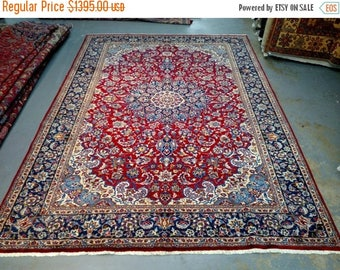 SUMMER CLEARANCE Persian Rug - 1980s Hand-Knotted Isfahan-Najafabad Rug (3561)