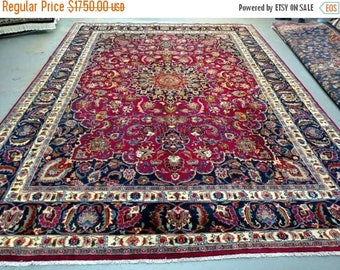 SUMMER CLEARANCE Persian Rug - 1980s Hand-Knotted, 10x14 Mashad Rug (3567)
