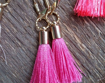 Tassel Earrings, Fringe Earrings, Silk Tassel Earrings, Pink Earrings, Bohemian Jewelry