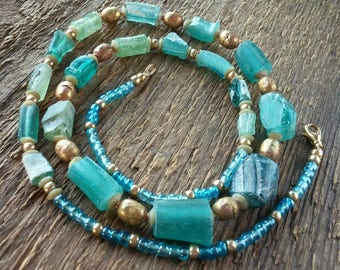 Ancient Roman Glass Necklace, Aqua Glass Necklace, Roman Glass Jewelry, Bohemian Jewelry, Aqua Necklace, Beaded Necklace, Gift for Her