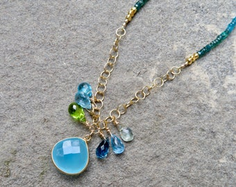 Apatite Necklace,Gemstone Necklace,Briolette Necklace,Blue Green Necklace,Chalcedony Necklace,Chain Necklace,Gemstone Briolette Necklace