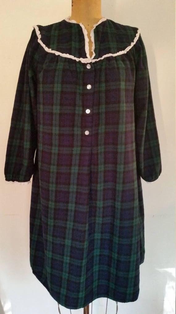 Lanz Of Salzburg Nightgown Vintage 100 Cotton Flannel Black