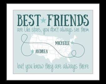 Friend print, gift for best friend gift, long distance friendship, college friend moving away going away, custom map poster, friend quote,