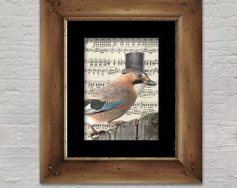 Music Print: Songbird - Elegant Euro-jay in Top Hat
