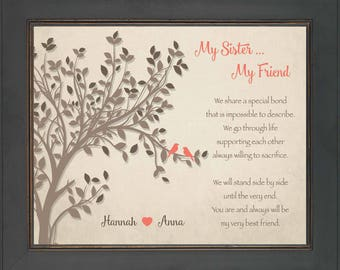 SISTERS gift print - Personalized gift for your Sister - Wedding Gift for Sister -Birthday Gift-Christmas Gift-Sister Wall Art- other colors