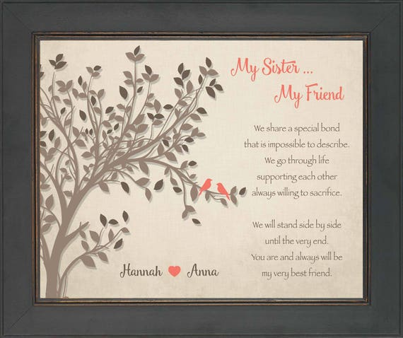 SISTERS gift print - Personalized gift for your Sister - Wedding ...