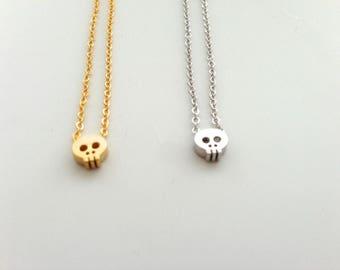 Skull necklace, tiny skull necklace, dainty skull necklace, minimalist everyday jewelry