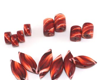 Polymer clay mix set of 14 beads, stripes tube and leaf shaped beads in maroon, red, orange and white, unique pattern, marquise beads