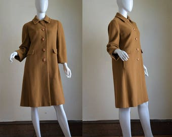 """1960s Camel Coloured Luxe Cashmere Coat Bust 38"""""""