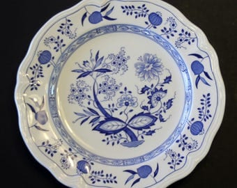 "Oriental Onion Ironstone Plate 10.5"" in diameter"