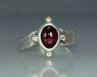 Garnet Silver Ring Womans Ring Organic Womans Ring Rustic Womans Ring Solitare Ring Stamtement Ring