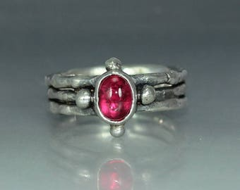 Ruby Silver Ring Womans Ring Organic Womans Ring Rustic Womans Ring Solitare Ring Stamtement Ring