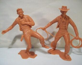 Lot of 2 Vintage Louis Marx Large Plastic Cowboy Western Figures 1960's
