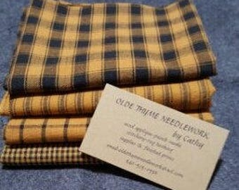 Homespun Fabric Bundles--Mustard and Black