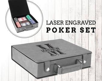 Laser Engraved Poker Set, Custom Laser Engraved Poker Set in Leatherette Box, Wedding Gift, Anniversary Gift, Birthday Gift, Groomsman Gift