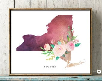 New York Map Wall Art, New York City Map Print, NY Map Print, New York Map Watercolor Art, Art Decor, New York Watercolor Flowers Print