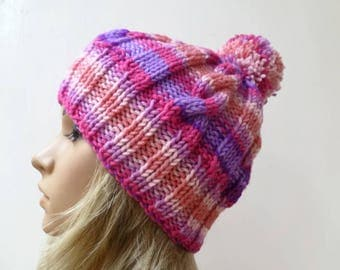 Chunky Cable Pom Pom Hat - Women Knit Hat -  Hand Knitted Pink Purple Cabled Bobble Hat - Women Aran Pom Pom Hat -Clickclackknits