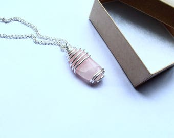 Rose Quartz Necklace Silver Filled Wire Wrapped Pink Jewelry