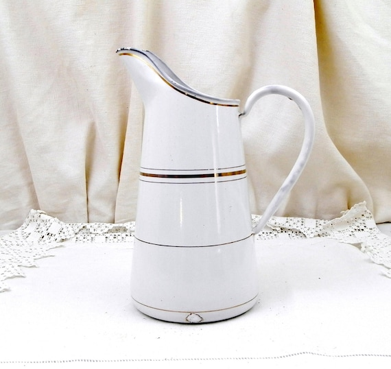 Antique French White with Gold Bands Enamelware Pitcher, Chippy Cottage Kitchen Enamel Jug, French Country Chateau Shabby Chic Decor,