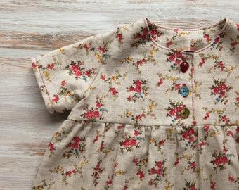 Floral Linen Dress - High Waist Dress - Short Sleeved Linen Dress - Handmade by LepotaShop