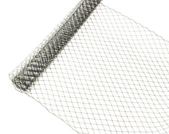 "1 Yard x 10"" Black Russian Millinery Birdcage Veil Netting - Available in 17 Colors"