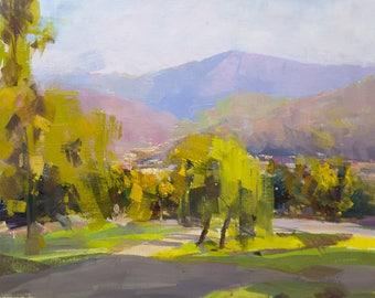 Landscape oil painting - Green Nature Artwork, Impressionist Painting, Landscape Art by Yuri Pysar