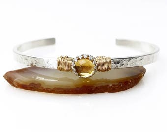 Citrine Cuff Bracelet / November Birthstone Gift for Her / Genuine Citrine Sterling Silver Cuff for Wife / 14k Gold Filled Citrine Bracelet
