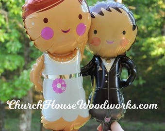 SALE BRIDE and GROOM small Air Balloons for Wedding Receptions, Wedding Decoration, Bridal Showers, Table Decorations, Balloons Do Not Float