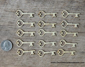 Wooden Skeleton Key Small ~ Set of 25 ~ Confetti, Embellishments, Scrapbooking, Woodcrafts, Key to my Heart, Key to Success, light wood