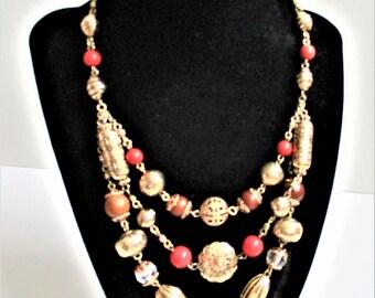 Gold Beaded Necklace Set Bracelet Gold Tone Etched Filigree Beads Vintage Fancy Necklace and Bracelet Set Gold Chain Fashion Necklace