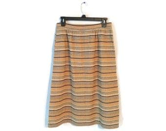 "Vintage Wool Skirt Pendleton yellow orange Striped Stripes 28"" waist M 8/10"