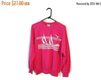 ON SALE BERMUDA sailing sweatshirt vintage size Large to Xl Pink