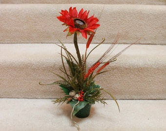 Silk Flower Arrangement - Red/Orange Sunflower (F17-3)