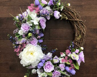Purple Floral Wreath, Floral Wreath For Front Door, Spring Wreath, Spring Floral Wreath, Wreaths For Spring, Easter Wreath, Elegant Wreath