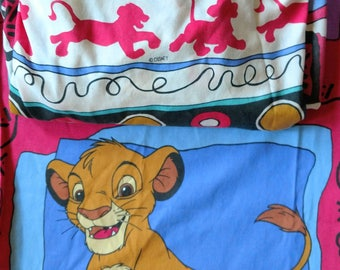 Vintage Disney Lion King Twin Sheet Bedding. Flat Sheet and Fitted Sheet