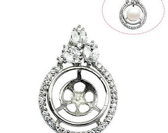 Pendant Blank Bezels 925 Sterling Silver Round Settings for Women Necklace Charm jewelry DIY ID 30749