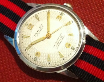 Den-Ro Swiss Watch, 17 Jewels, Mid Century Modern, Guilloché Dial, Men's Vintage Watch, Sweep Second Hand, Free Shipping