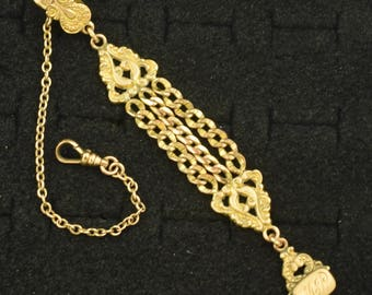 Antique Pocket Watch Chain & Fob Gold Plated Marked DFB ~ Lot 1433