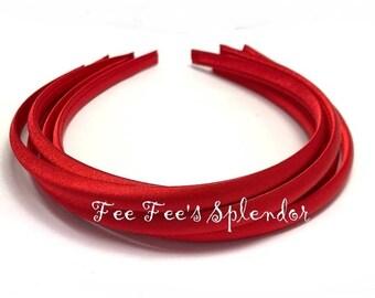 Satin Lined headband -Red Satin headband- 10 mm- Hard headband- DIY headband blank