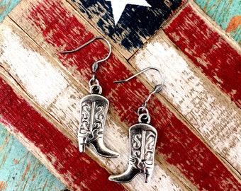 Silver Boot Earrings