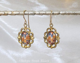 Antique Marbled Endpapers Dickens 1863 Glass Cab Earrings in Vintage Brass Settings - Warm Blues